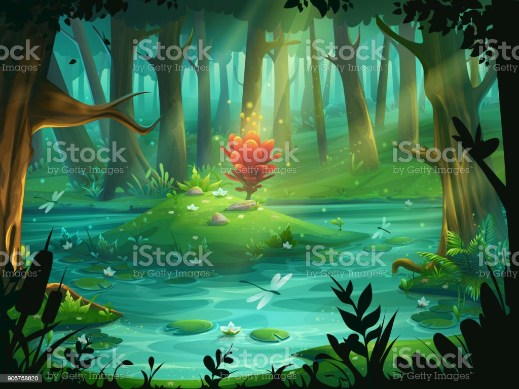 The Scarlet Flower on an island in a swamp in the forest vector art illustration