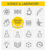 The science and laboratory outline vector icon set.