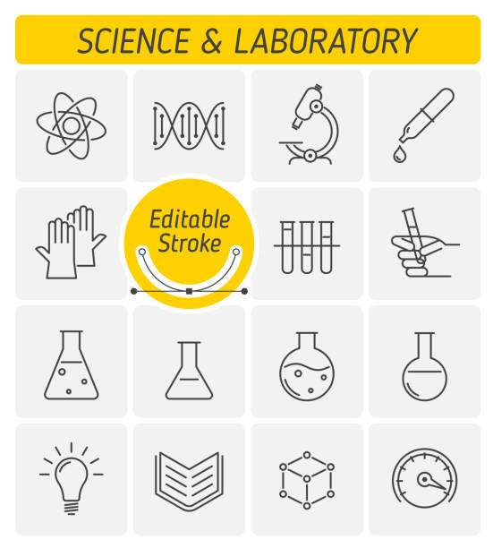 The science and laboratory outline vector icon set. The science and laboratory outline icon set. The scientific research, science experiment, lab glassware, measuring device line symbols. The chemical lab linear vector icons with editable strokes. laboratory flask stock illustrations