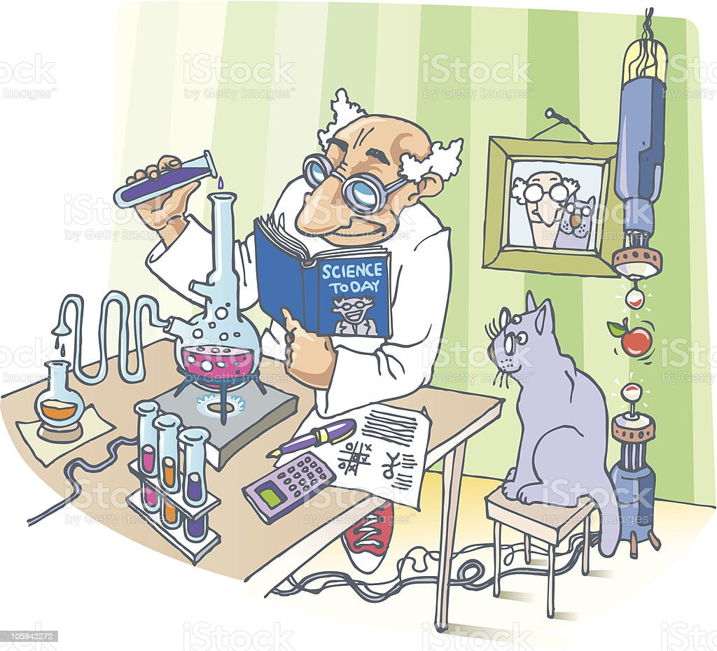 The Scientist and his Cat vector art illustration
