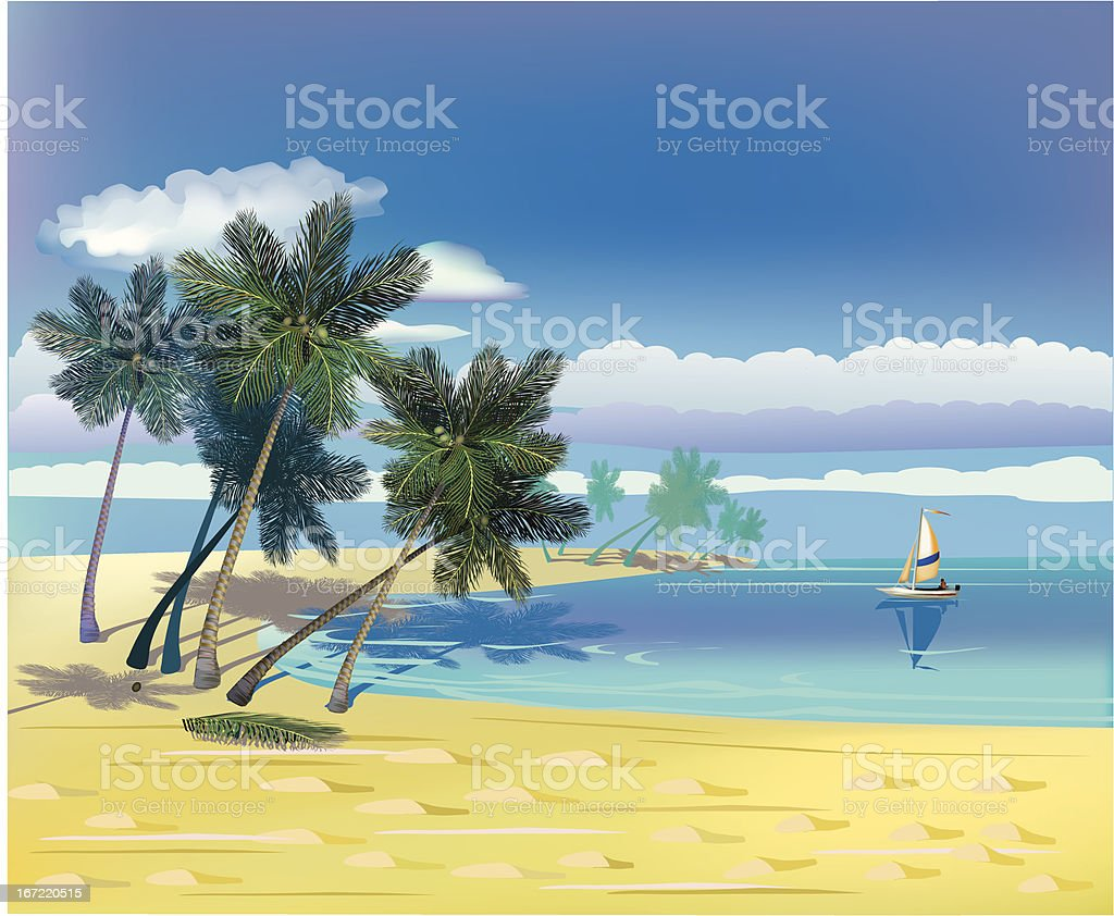 The sea, yachts, palm trees.Travel . royalty-free the sea yachts palm treestravel stock vector art & more images of activity