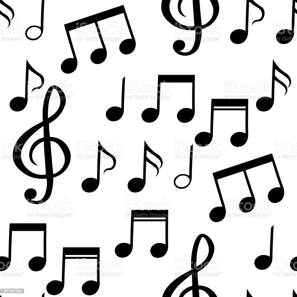 the seamless pattern of musical notes vector illustration stock rh istockphoto com Music Notes Vector Art Free White Music Note Vector