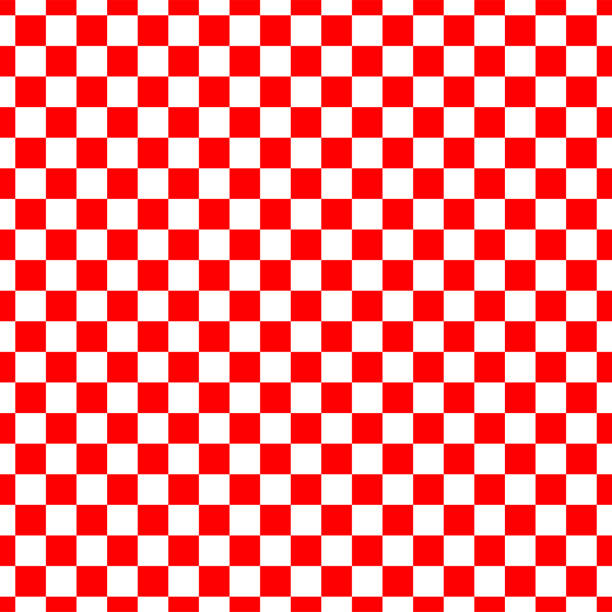 the seamless pattern of red and white checkered square. Vector illustration of the seamless pattern of red and white checkered square abstract background. checked pattern stock illustrations