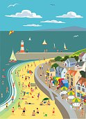 Holiday/vacation scene with seaside and beach in traditional retro crosshatch style EPS 10 file, CS5 version in zip.