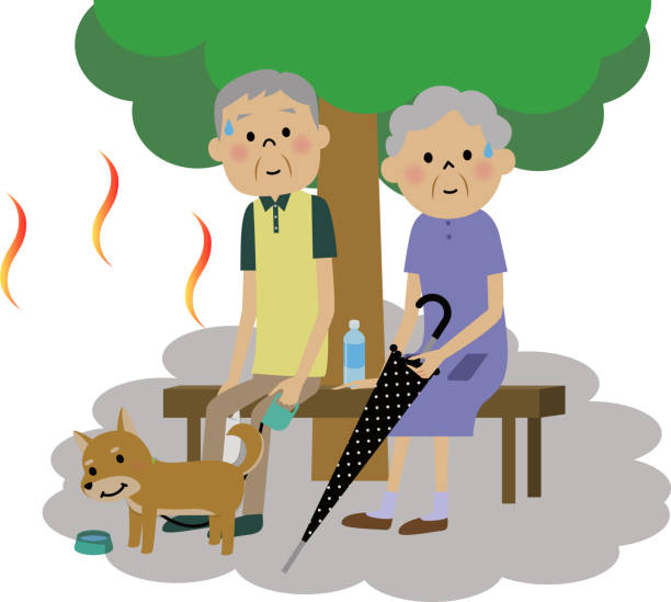 The senior citizen couple who takes a heat exhaustion measure 木陰で休憩して熱中症対策するシニア夫婦のイラストです。 heat wave stock illustrations
