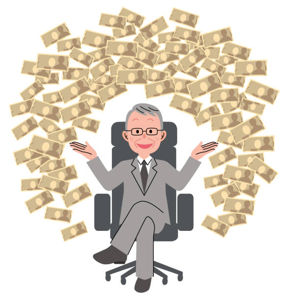 the senior man who sits down on a chair and big money - old man sitting chair clip art stock illustrations, clip art, cartoons, & icons