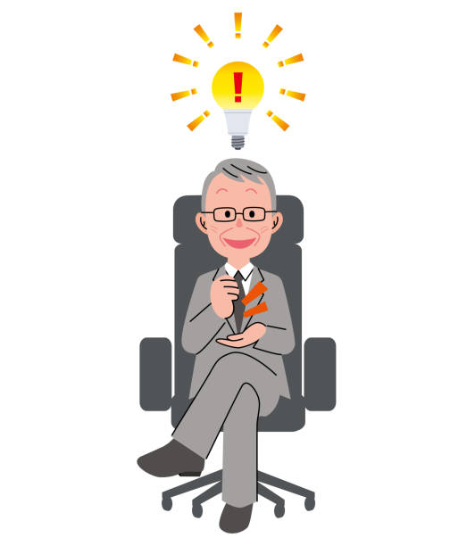 the senior man who sits down on a chair and electric lamp - old man sitting chair clip art stock illustrations, clip art, cartoons, & icons