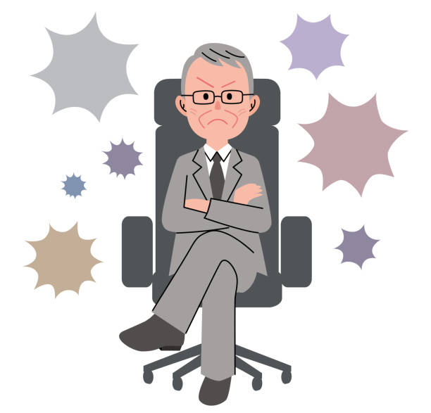 the senior man who sits down on a chair and speech bubble - old man sitting chair clip art stock illustrations, clip art, cartoons, & icons