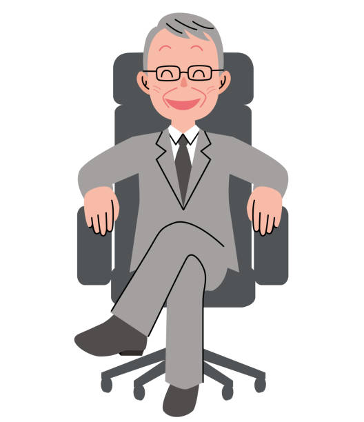 the senior man who sits down on a chair with a smile - old man sitting chair clip art stock illustrations, clip art, cartoons, & icons