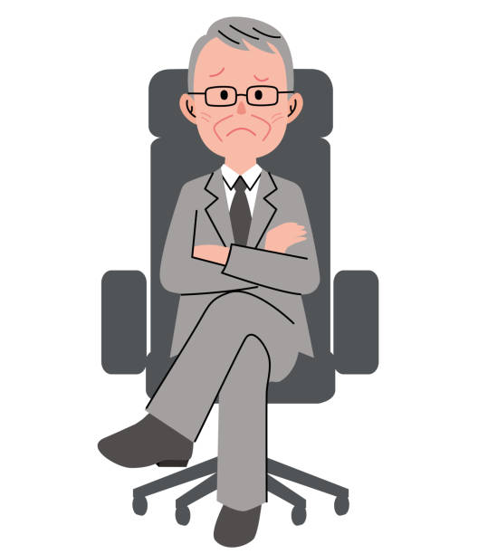 the senior man who sits down on a chair with an uneasy face - old man sitting chair clip art stock illustrations, clip art, cartoons, & icons