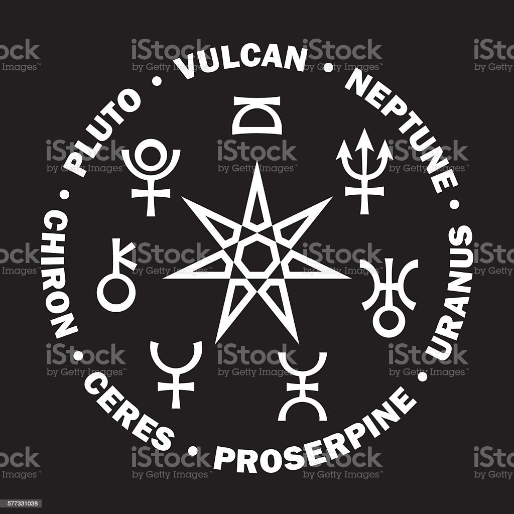 The Septener Of New Age Seven Higher Planets Of Astrology Stock