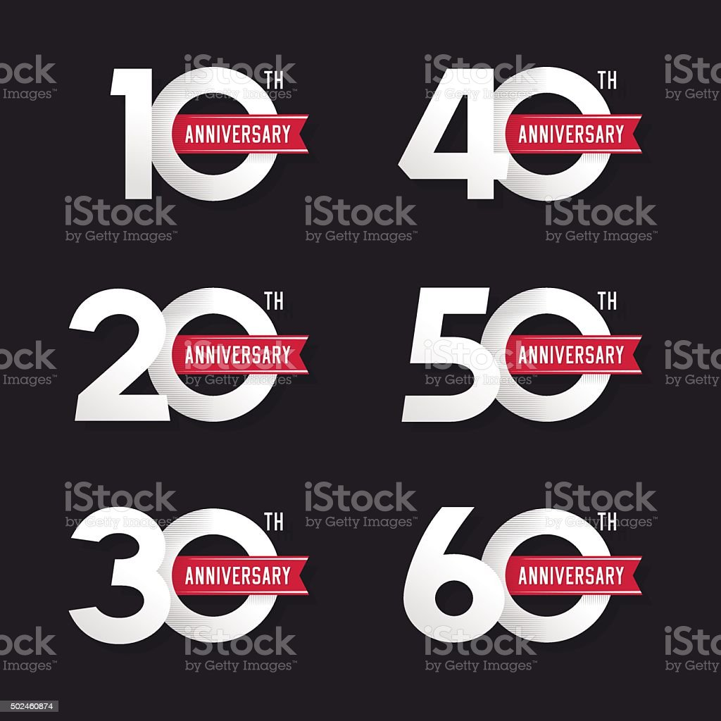 The set of anniversary signs vector art illustration
