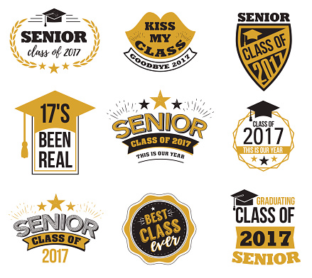 The set of black and gold colored senior text signs with the Graduation Cap, ribbon vector illustration. Class of 2017 grunge badges on white background