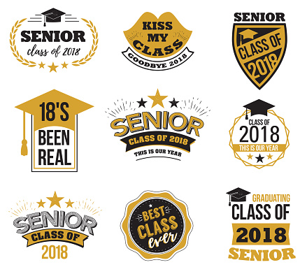 The set of black and gold colored senior text signs with the Graduation Cap, ribbon vector illustration. Class of 2018 grunge badges on white background.