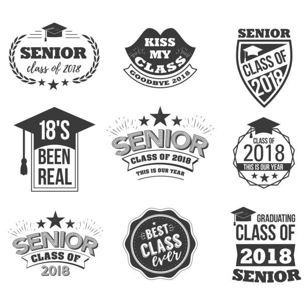ilustrações, clipart, desenhos animados e ícones de o conjunto de sinais de texto sênior cor preto com o chapéu de formatura - baile de graduação