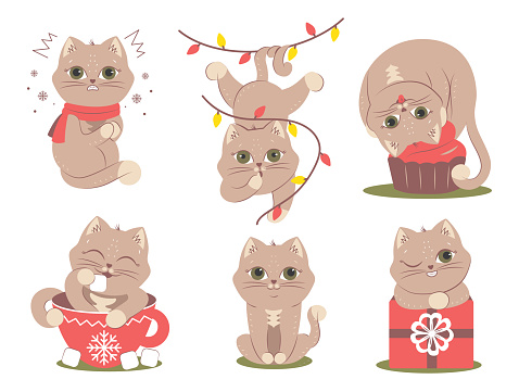 The set of cats for Christmas time, logo designs