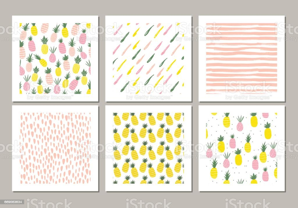 The set of cute pineapple cards. Vector – artystyczna grafika wektorowa