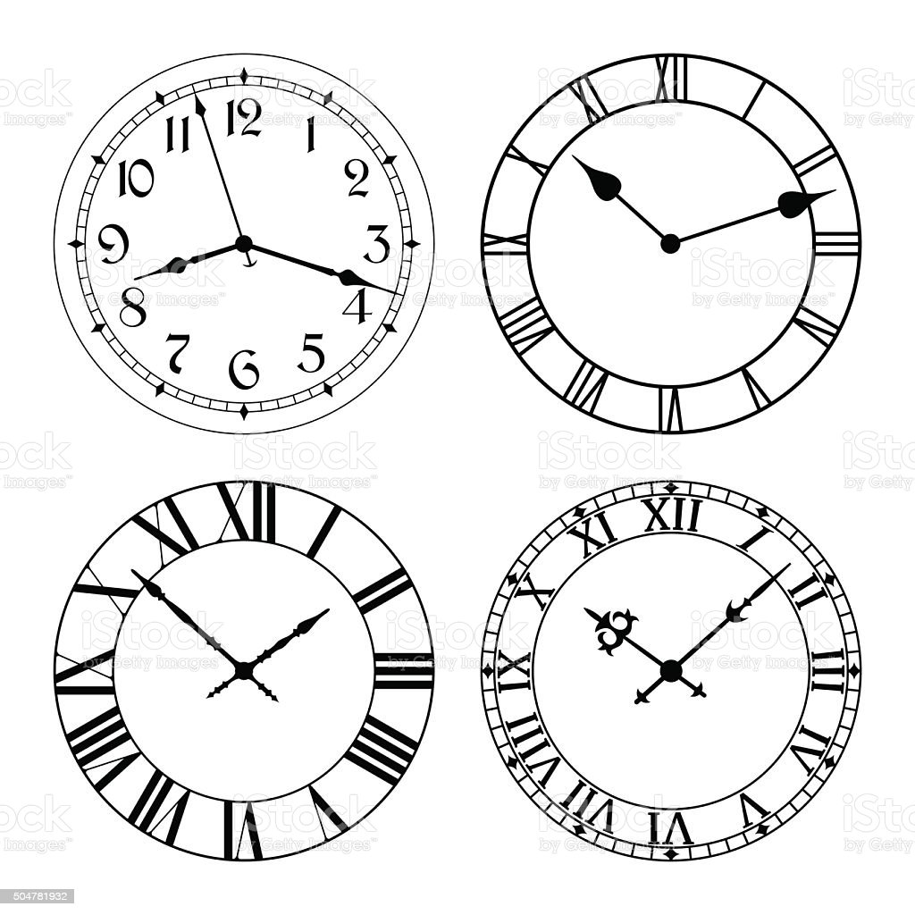 The set of different clock faces. vector art illustration