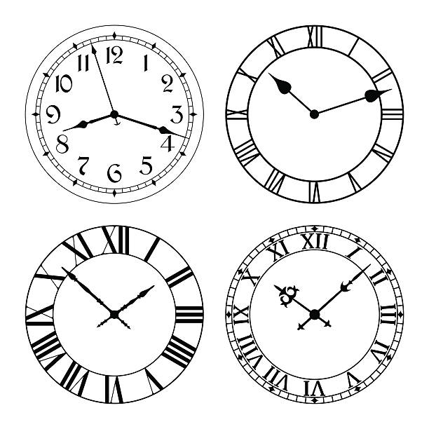 the set of different clock faces. - clock face stock illustrations, clip art, cartoons, & icons