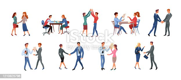 A collection set of different office workers has conversations, greeting, meeting in various situations. Isolated vector icon illustration on white background in cartoon style.