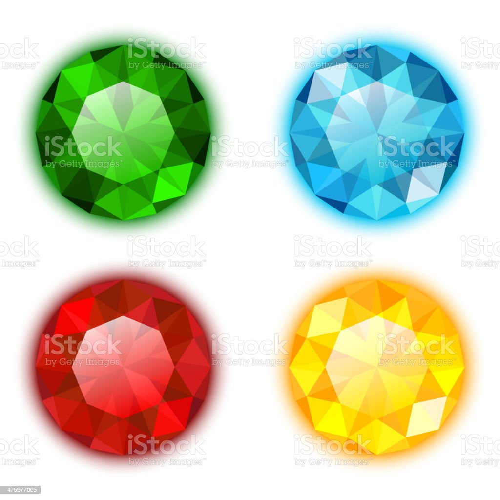 The Set of Four Colorful Gems vector art illustration