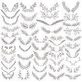 The set of hand drawn vector circular decorative elements