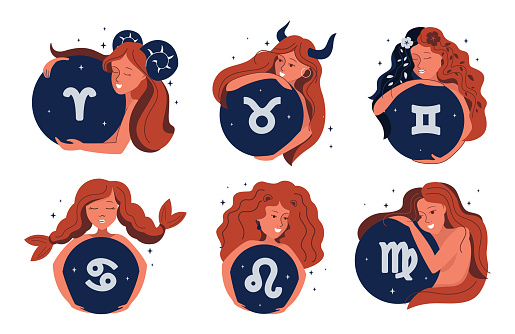 The set of Magic girl and zodiac symbols. The cartoon character is good for horoscopes