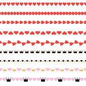 The set of seamless patterns with hearts and crowns. Vector.