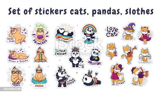 The set of stickers cat, panda, sloth. The cartoonish characters