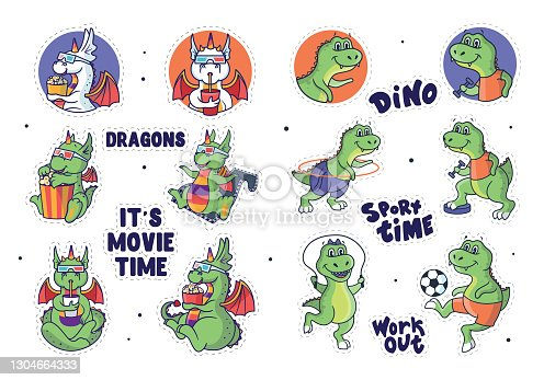 The set of  stickers dragons and dinosaur.