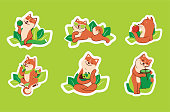 The set of stickers for a healthy lifestyle, green life, love body.