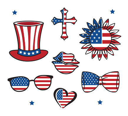The set of stickers for Independence Day America. Hand-drawn collection for 4th of July