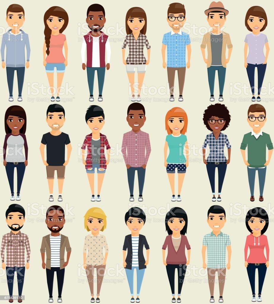 L'ensemble des vingt et une personne. lensemble des vingt et une personne – cliparts vectoriels et plus d'images de abstrait libre de droits