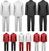 The set of various work clothes.