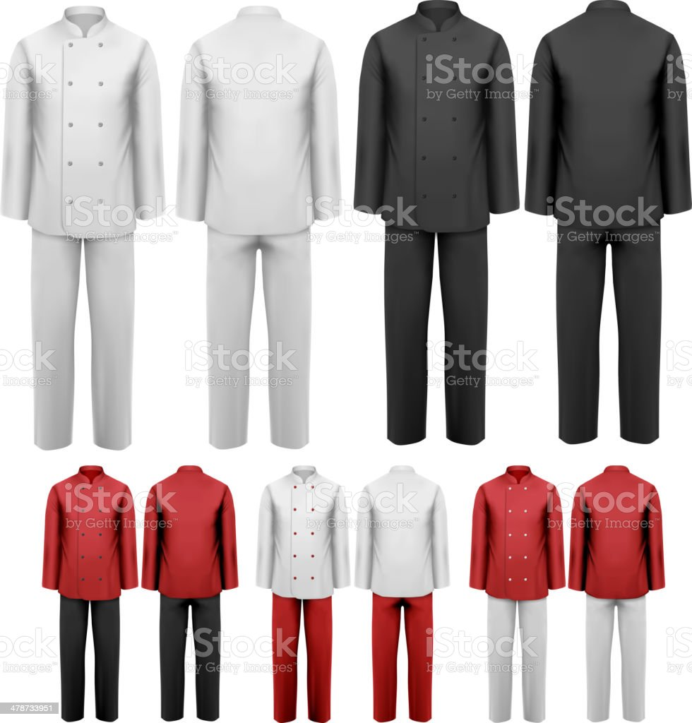 The set of various work clothes. vector art illustration