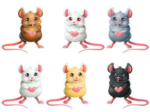 Bекторная иллюстрация The set six cute mice on white