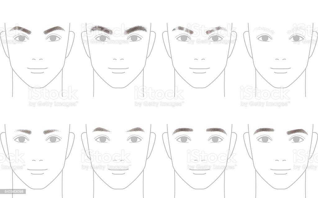 Formen der Augenbrauen für Herren – Vektorgrafik