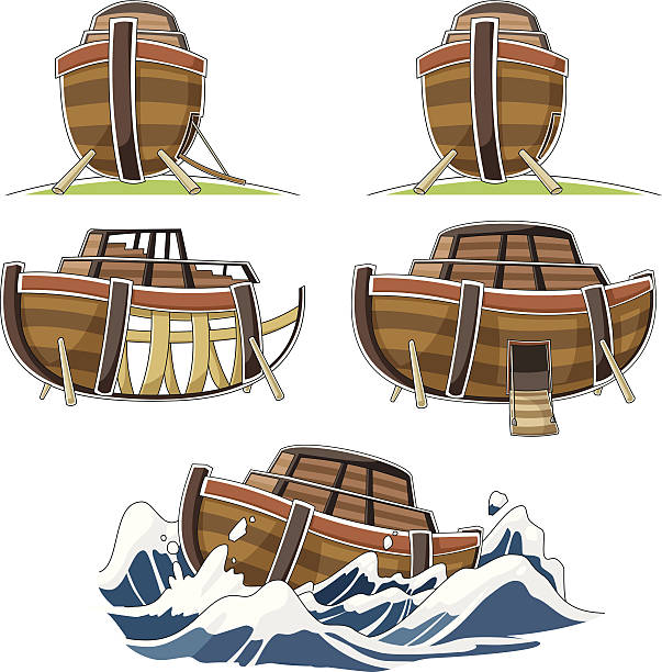 The ship of Noah's ark vector art illustration