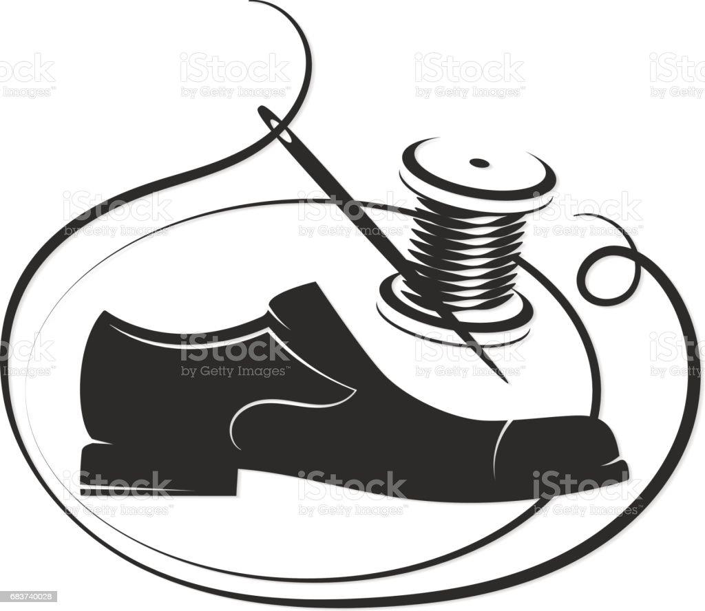 La Chaussure Laiguille Et La Bobine De Fil Sont Silhouette
