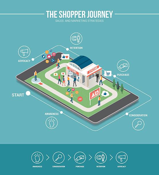 ショッピングの旅 - 小売販売員点のイラスト素材/クリップアート素材/マンガ素材/アイコン素材