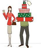 A couple on a Christmas gift shopping trip. I also have a non-Christmas version of this image.
