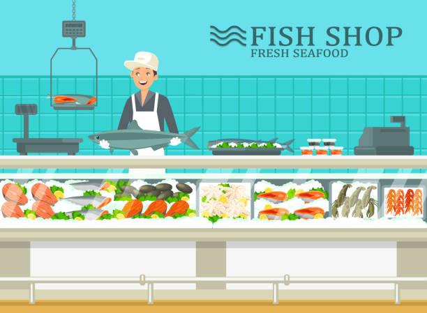 illustrazioni stock, clip art, cartoni animati e icone di tendenza di la vetrina al negozio di pesce con il venditore - banchi di pesci