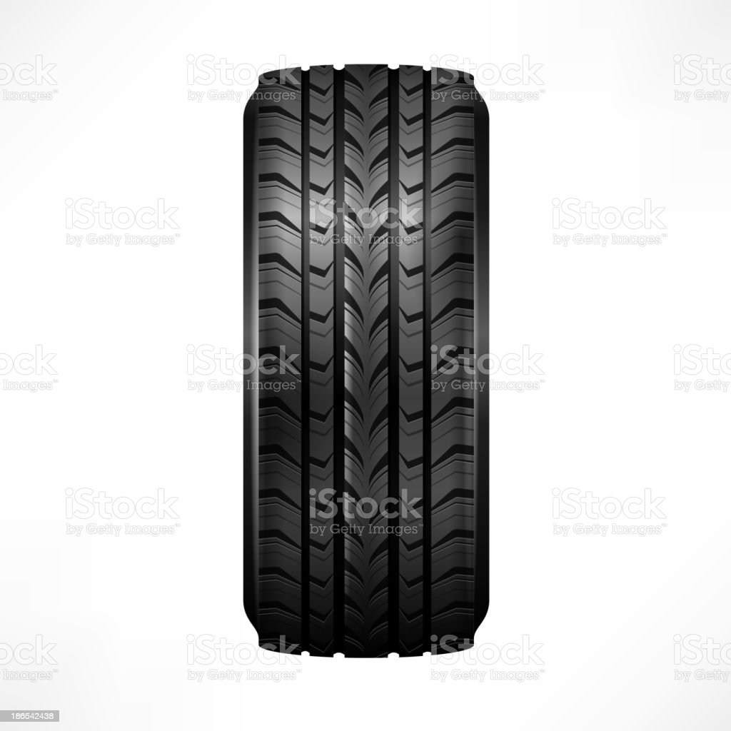 The side view of a new, black, rubber car tire with treads vector art illustration