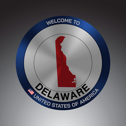 The Sign Shield style United states of America with message, Delaware and Red map on Grey Background vector art image illustration.