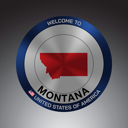 The Sign Shield style United states of America with message, Montana and Red map on Grey Background vector art image illustration.