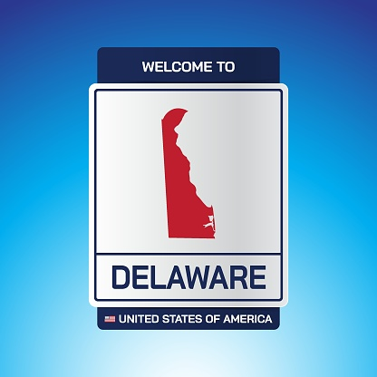 The Sign United states of America with  message, Delaware and map on Blue Background vector art image illustration.