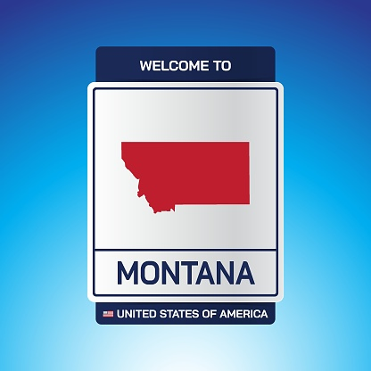 The Sign United states of America with  message, Montana and map on Blue Background vector art image illustration.