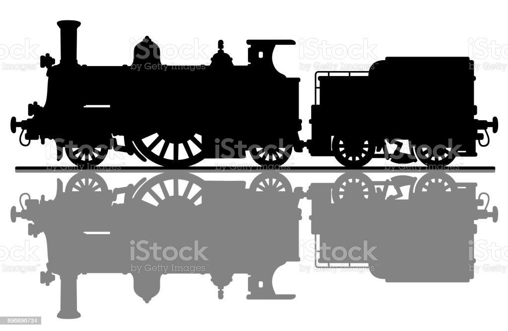 Ilustración de La Silueta De Una Locomotora De Vapor Vintage y más ...