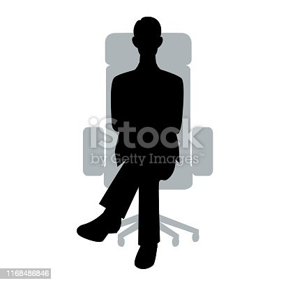 The silhouette of the businessman who sits down on a chair