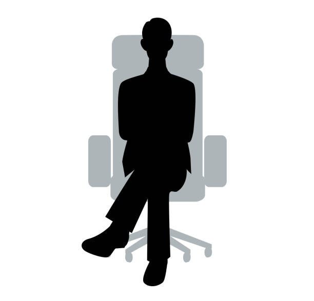 ilustrações, clipart, desenhos animados e ícones de a silhueta do homem de negócios que senta-se para baixo em uma cadeira - ceo